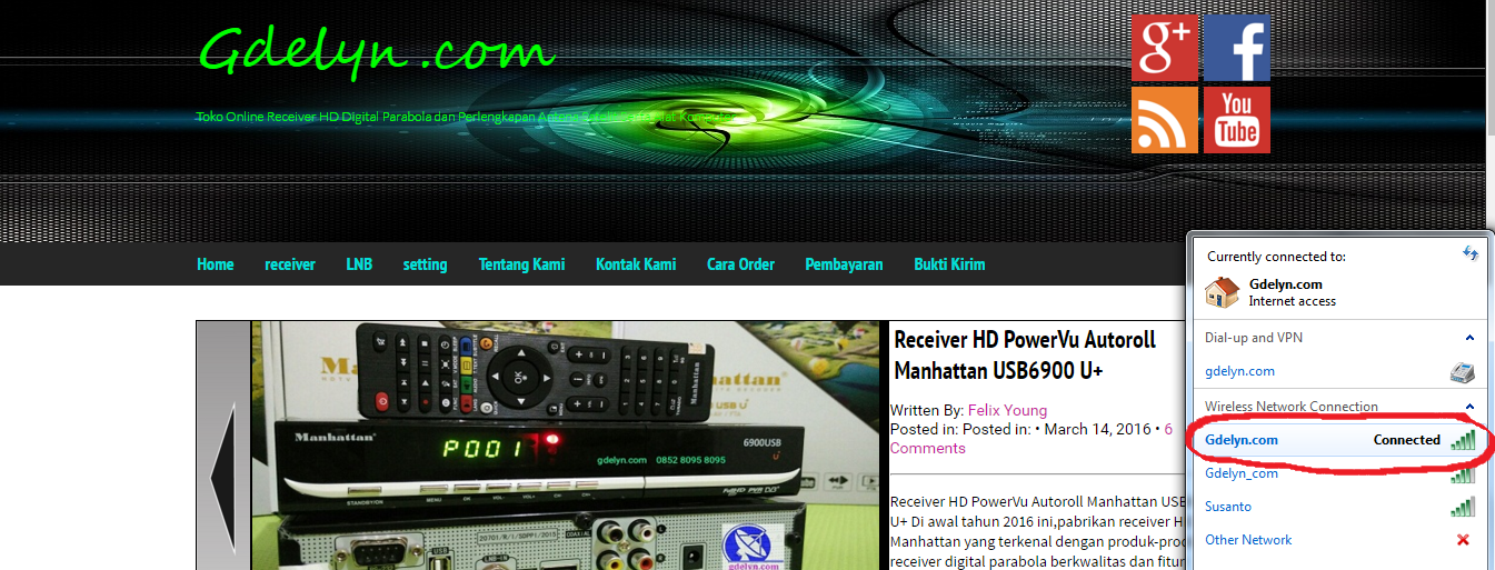Receiver Parabola ,Receiver HD, Manhattan USB6900;